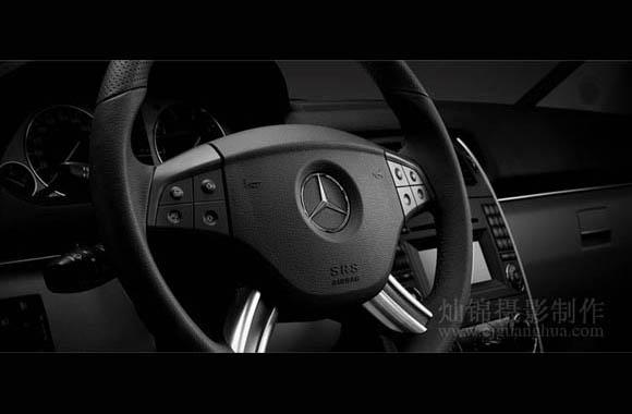 奔驰b200汽车方向盘摄影